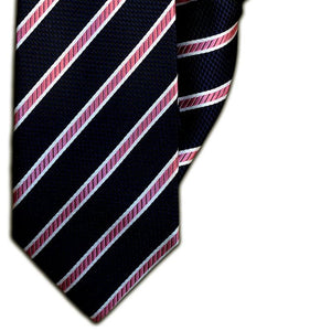 Navy, Pink and White Stripe Clip On Tie (JH-1090)