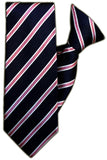 Navy, Pink and White Stripe Clip On Tie (JH-1090) - Meechs