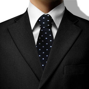 Black with White Spot Design Clip On Tie (JH-1076)