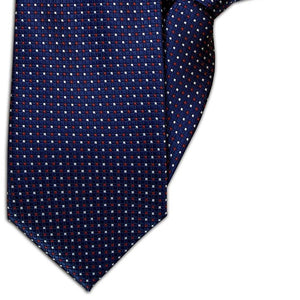 Navy with Red and White Square Design Clip On Tie (JH-1067)