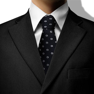 Dark Grey with White Circles Design Clip On Tie (JH-1069)