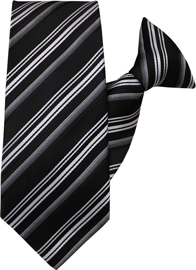 Black and White Stripe Clip On Tie (JH-1047)