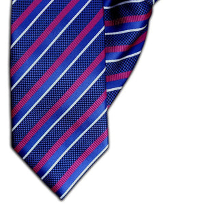 Royal Blue and Fuschia Stripe Clip On Tie (JH-1093)