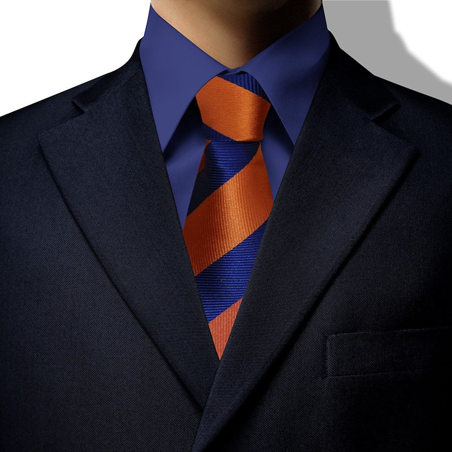 85527aa82bf5 Orange and Royal Blue Stripe Clip On Tie (JH-1079) – John Henry