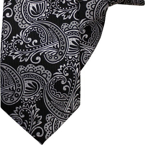 Black with White Paisley Clip On Tie (JH-1050)