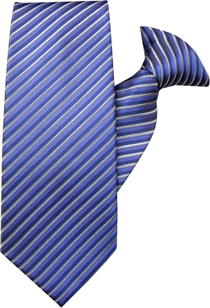 Blue and Silver Stripe Clip On Tie (JH-1043)