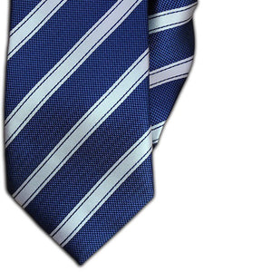 Blue and White Stripe Clip On Tie (JH-1086)