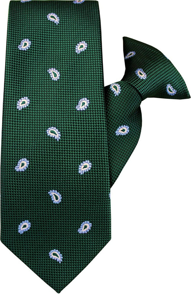 Green with Blue and White Paisley Clip On Tie (JH-1038)