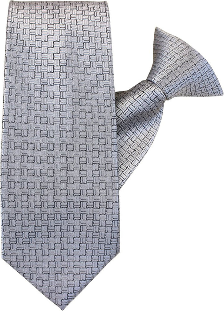 Silver Squares Clip On Tie (JH-1020)