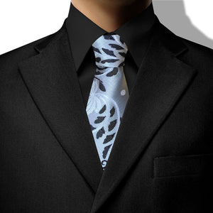Silver with White and Black Vines Design Clip On Tie (JH-1074)