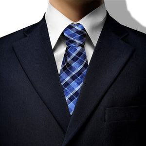 Blue, White and Navy Stripe Clip On Tie (JH-1084)