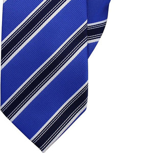Blue, Navy and White Stripe Clip On Tie (JH-1036)