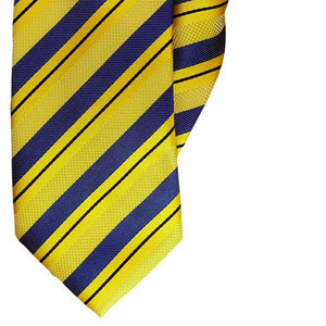Yellow and Navy Stripe Clip On Tie (JH-1096)
