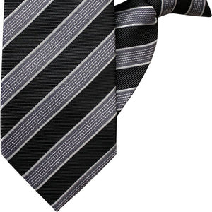 Black, Silver and White Stripe Clip On Tie (JH-1044)
