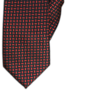 Red and Black Dash Design Clip On Tie (JH-1091)