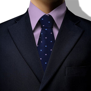 Navy with Blue and Pink Square Design Clip On Tie (JH-1077)