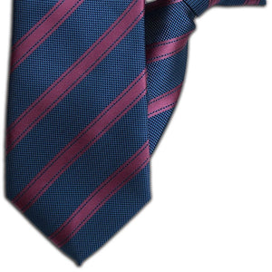 Petrol and Wine Stripe Clip On Tie (JH-1107)