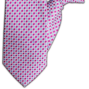 Pink and Blue Spot Design Clip On Tie (JH-1110)