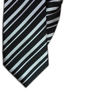 Black and Silver Stripe Clip On Tie (JH-1088)