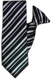 Black and Silver Stripe Clip On Tie (JH-1088) John Henry - Meechs