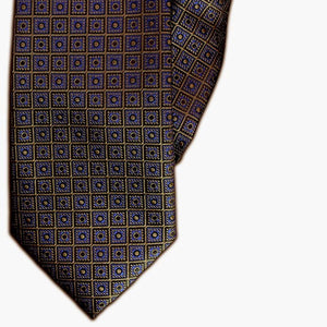 Navy and Brown Square Design Clip On Tie (JH-1100)