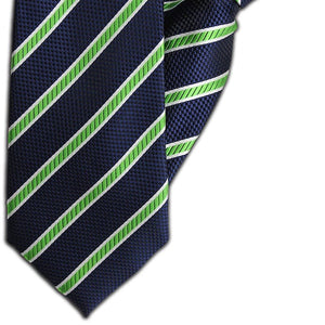 Navy, Green and White Stripe Clip On Tie (JH-1104)