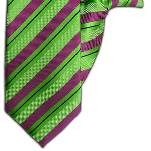 Green and Purple Stripe Clip On Tie (JH-1106)