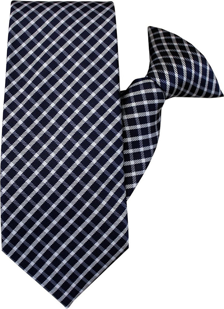Navy and White Clip On Tie (JH-1007)