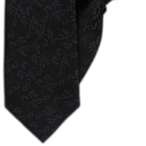 Black with Grey Vines Clip On Tie (JH-1113)
