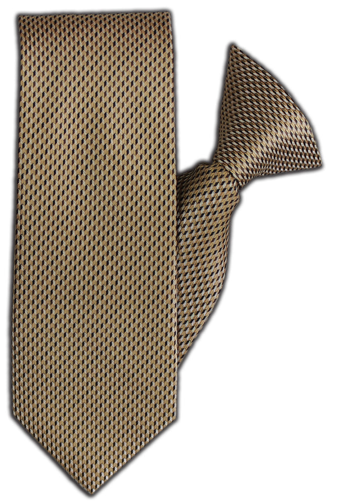 Gold & Brown Squares Clip On Tie (JH-1115)