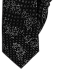 Black with Silver Paisley Clip On Tie (JH-1116)