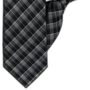 Dark Grey Tartan Clip On Tie (JH-1117)