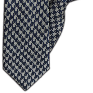 Blue & Silver Houndstooth Clip On Tie (JH-1118)