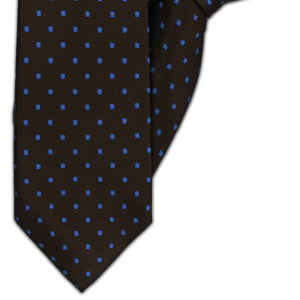 Brown with Blue Squares Clip On Tie (JH-1124)