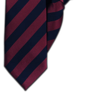 Wine & Navy Stripe Clip On Tie (JH-1125)