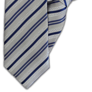 Grey & Blue Stripe Clip On Tie (JH-1126)