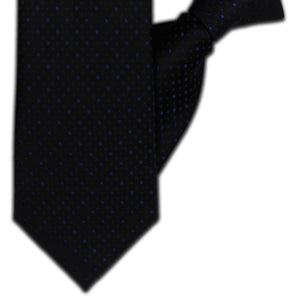 Black with Blue Spot Clip On Tie (JH-1131)