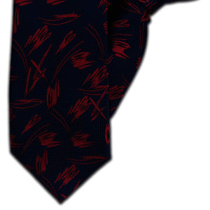 Navy with Red Squiggles Clip On Tie (JH-1133)