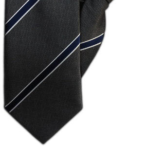 Dark Grey with Navy and White Stripe Clip On Tie (JH-1135)