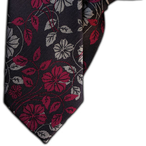 Grey with Fuchsia and Silver Flowers  Clip On Tie (JH-1136)