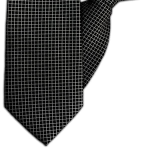 Black and Silver Squares Clip On Tie (JH-1137)