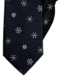 Dark Grey with White Snowflakes Clip On Tie (JH-1138)