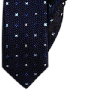 Navy with Blue Squares and Blue Spots Clip On Tie (JH-1140)