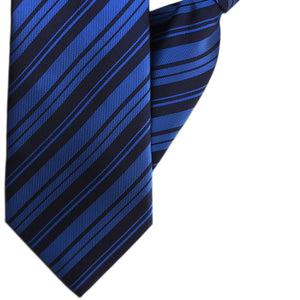 Blue and Navy Stripe Clip On Tie (JH-1145)