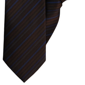 Brown, Blue and Grey Stripe Clip On Tie (JH-1147)