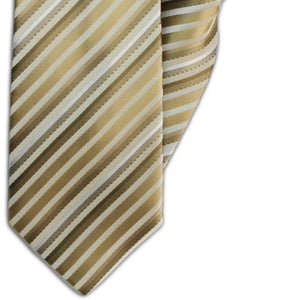 Shades of Gold Stripe Clip On Tie (JH-1148)