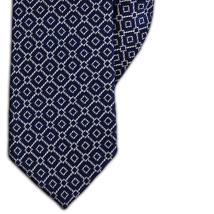 Navy and Silver Geometric Diamond Design Clip On Tie (JH-1149)