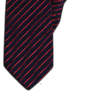 Navy with Red & Black Stripe Clip On Tie (JH-1151)