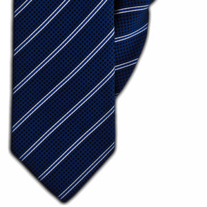 Navy with Blue & White Stripe & Black Spot Clip On Tie (JH-1152)