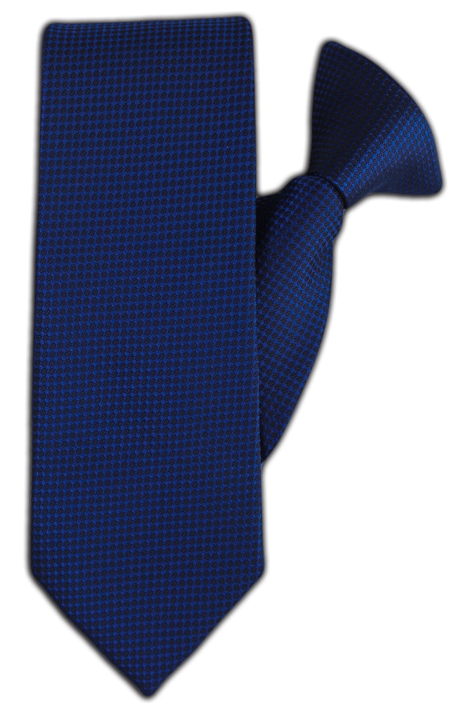Black with Midnight Blue Geometric Spot Clip On Tie (JH-1153)